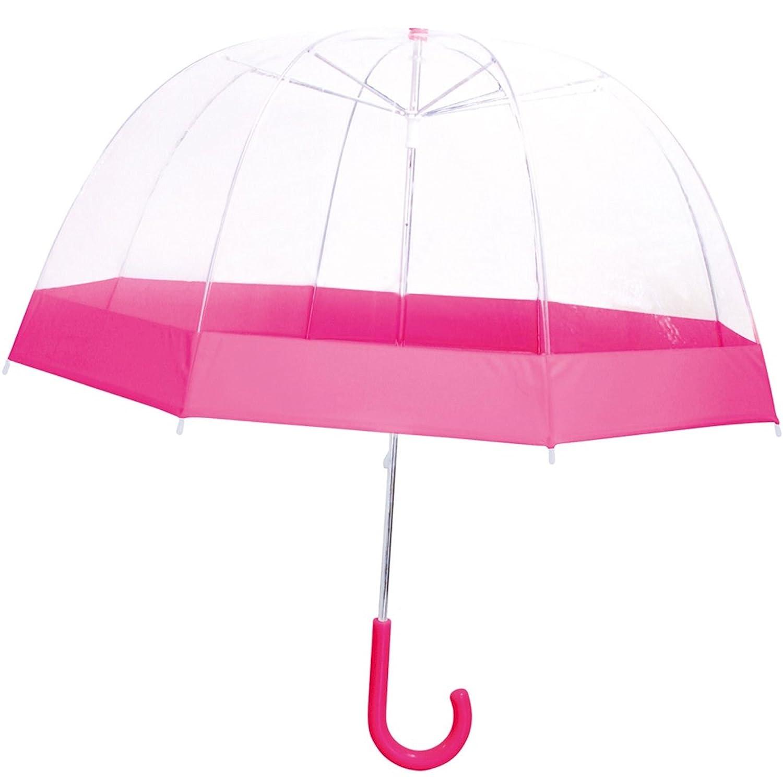 La Chaise Longue 26-2381N Parapluie Cloche Transparent liser/é noir Ouverture automatique Poign/ée ergonomique recourb/ée Protection anti-pincement