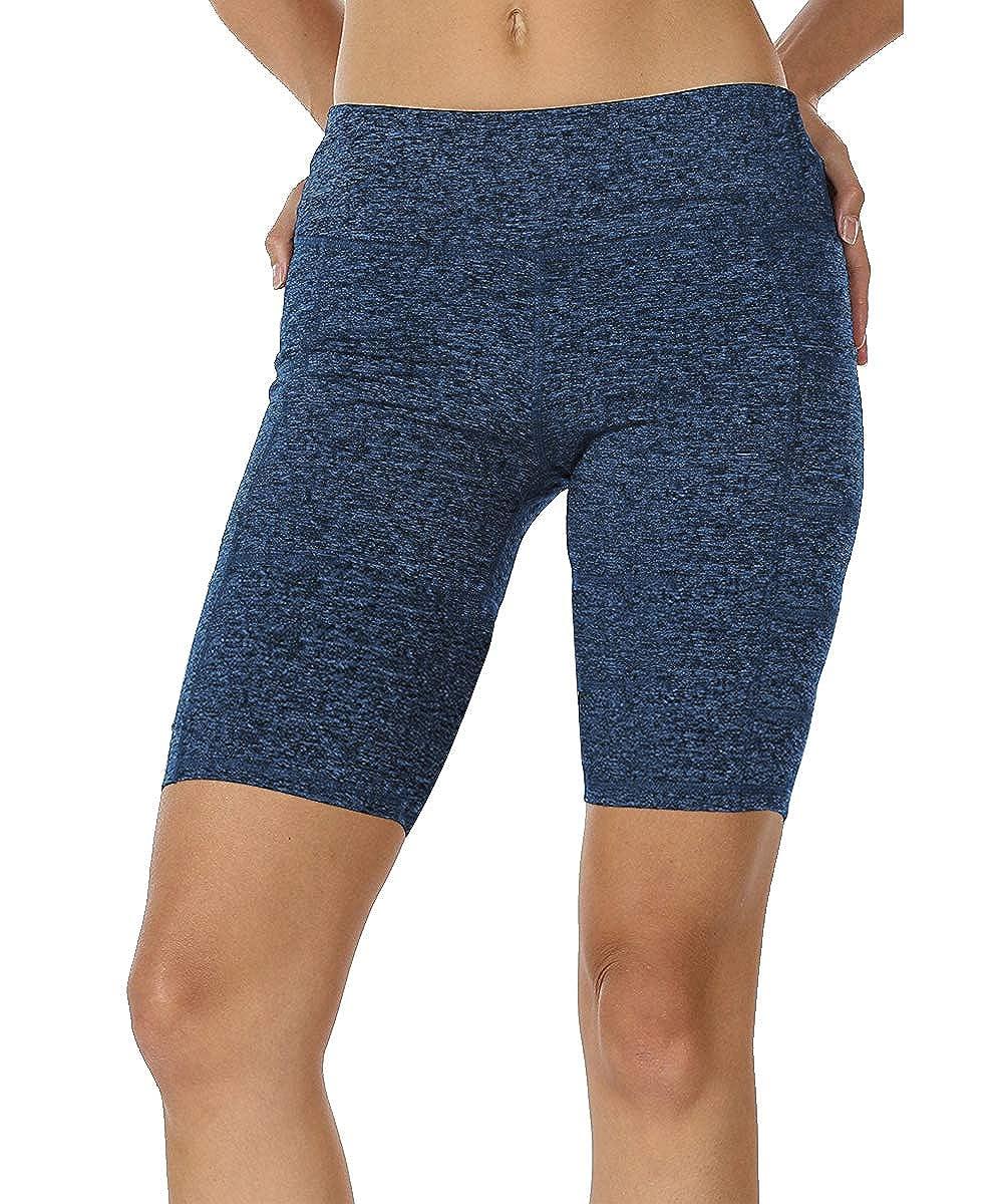 bluee1 MYIFU Women High Waist Yoga Shorts Tummy Control Workout Running Shorts Pants Side Pocket