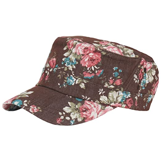 Amazon.com  RaOn A137 Women Flower Pattern Forest Design Simple Army Cap  Cadet Military Hat (Brown) (0784316488751)  Books f02333502715