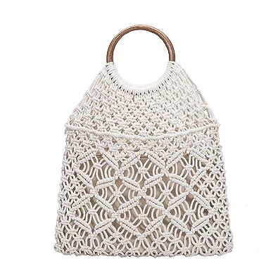 Amazon.com: Melie Bianco Natalie Macrame Tote w Bamboo ...