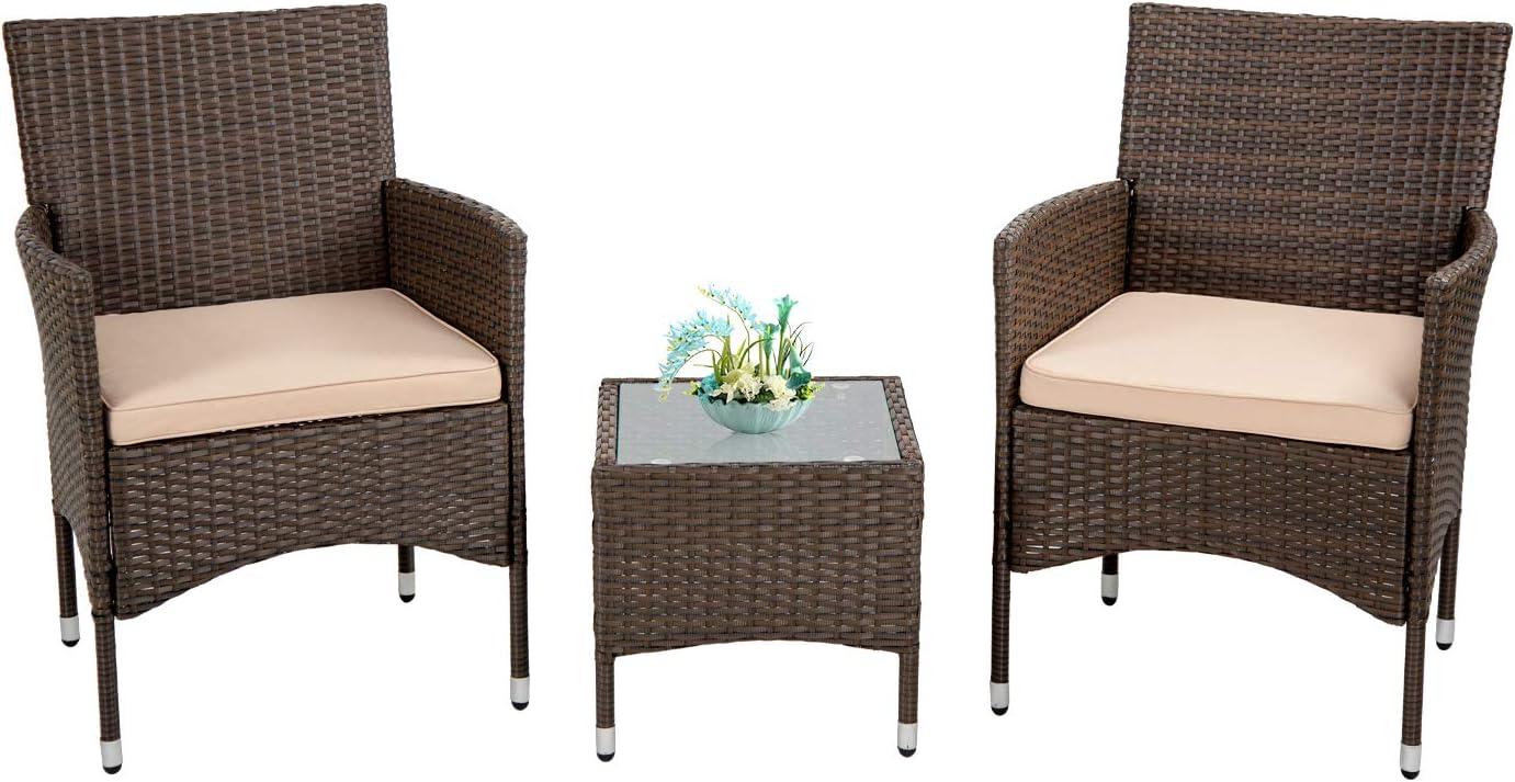 FDW Outdoor Patio Furniture Set,3 Pieces Wicker Bistro Set Outdoor Patio Set Rattan Chair Conversation Sets Patio Sofa Wicker Table Set for Yard Backyard Lawn Porch Poolside Balcony,Khaki Cushion