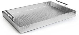 "American Atelier 1270101 Alligator Rectangle Serving Tray with Handles, 14"" x 19"" x 3"", Silver"