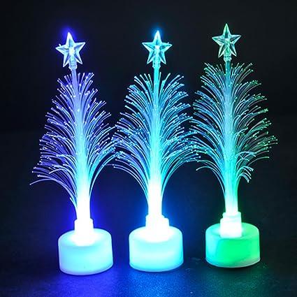 fashionclubs 7 colors fiber optic led light up mini christmas tree with top star pack - Mini Fiber Optic Christmas Tree