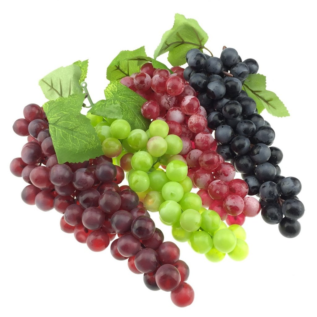 Gresorth 4 Pack Lifelike Artificial Black Green Wine Red Grape Faux Fake Grapes Cluster Home House Christmas Party Decor