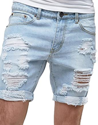 fca4d2f170 Sarriben Men's Summer Ripped Distressed Smart Slim Fit Destroyed Denim  Short Blue at Amazon Men's Clothing store: