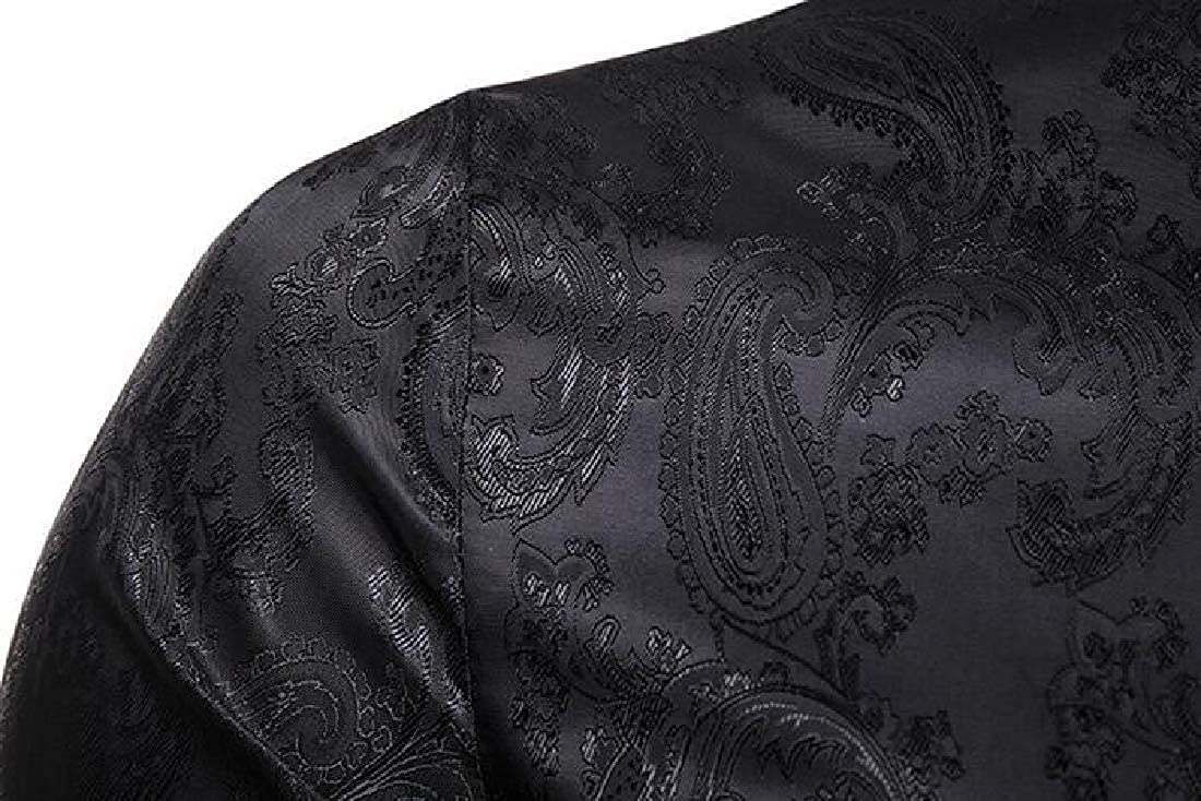 UUYUK Men Button Down Irregular Long Sleeve Paisley Print Dress Work Shirt
