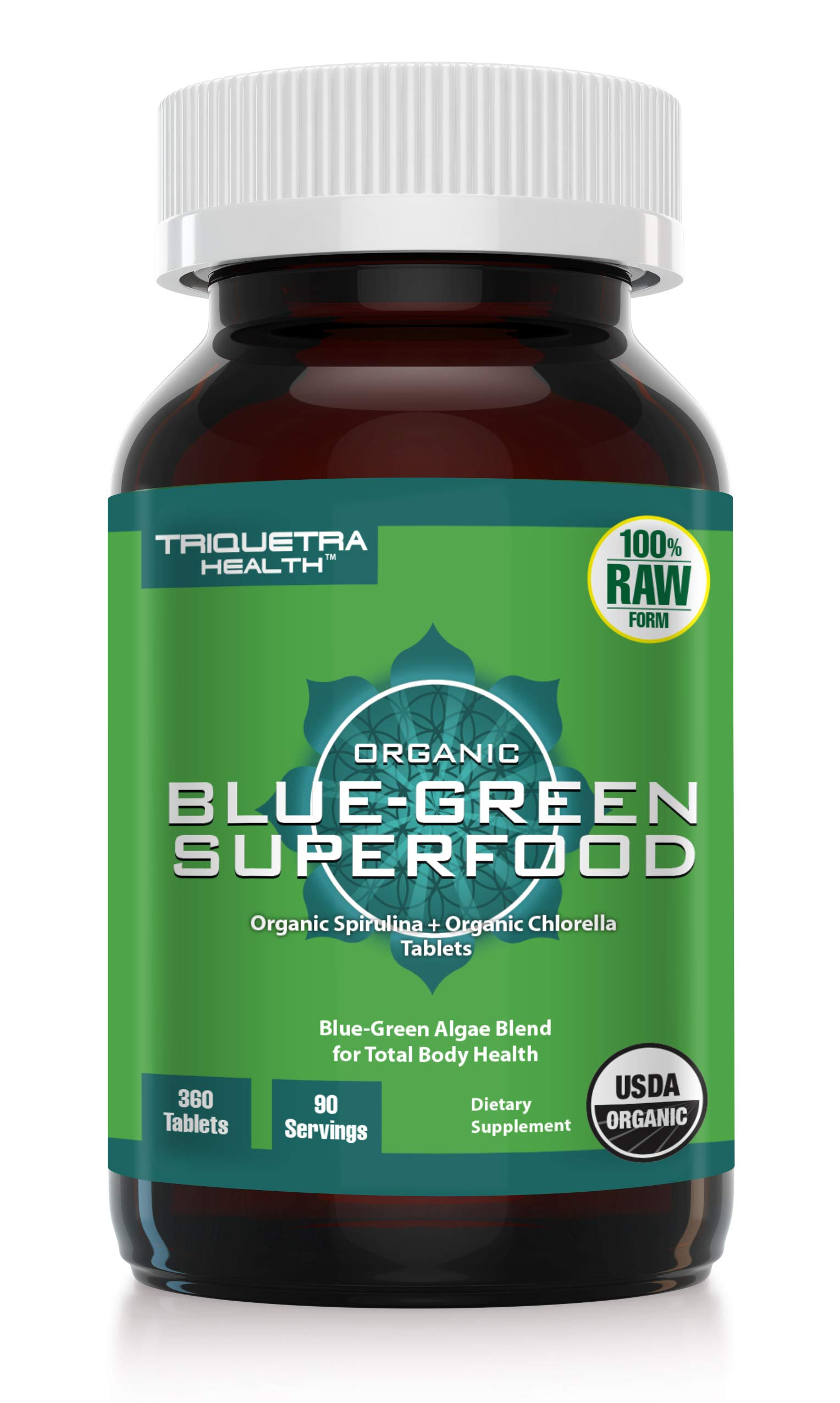 Organic Spirulina Chlorella: 360 Tablets - Raw & Bio-Active, 4 Organic Certifications, Vegan | Green Superfood Blend for Total Body Health, Rich in Chlorophyll, Vitamins, Minerals & Antioxidants
