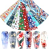 Christmas Nail Foil Transfers Stickers Christmas Nail Art Stickers 10 Pcs Colorful Cute Christmas Theme Nail Decals Tips…