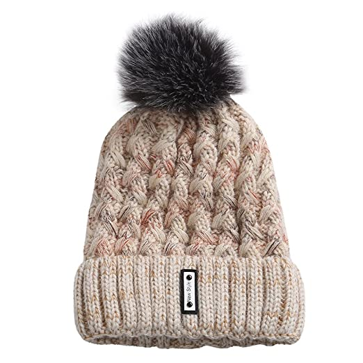 c4363f57a80 Smallrabbit Knit Beanie Hat Womens Winter Ribbed Hats Raccoon Fur Pom Pom  Knit Beanie Hat (