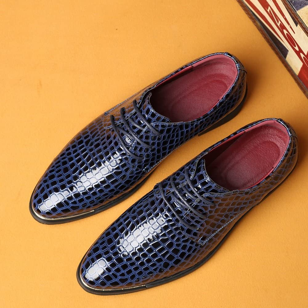 Elegdy Mens PU Leather Business Shoes Snake Skin Texture Upper Lace Up Lined Oxfords Breathable