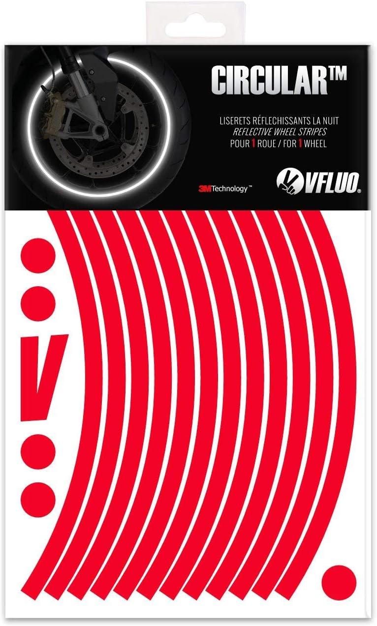 VFLUO Circular™, Kit de Cintas, Rayas Retro Reflectantes para Llantas de Moto (1 Rueda), 3M Technology™, Anchura XL : 10 mm, Rojo