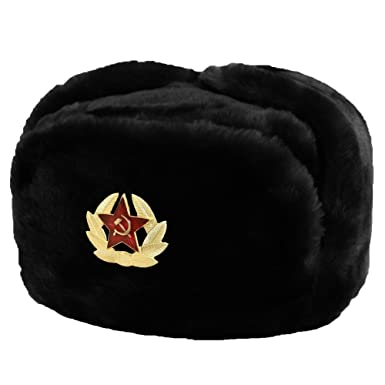 69d831207c8 Evelyn Living Black Russian Trapper Hat With Soviet Badge Faux Fur Ushanka  Cossack Flaps  Amazon.co.uk  Clothing