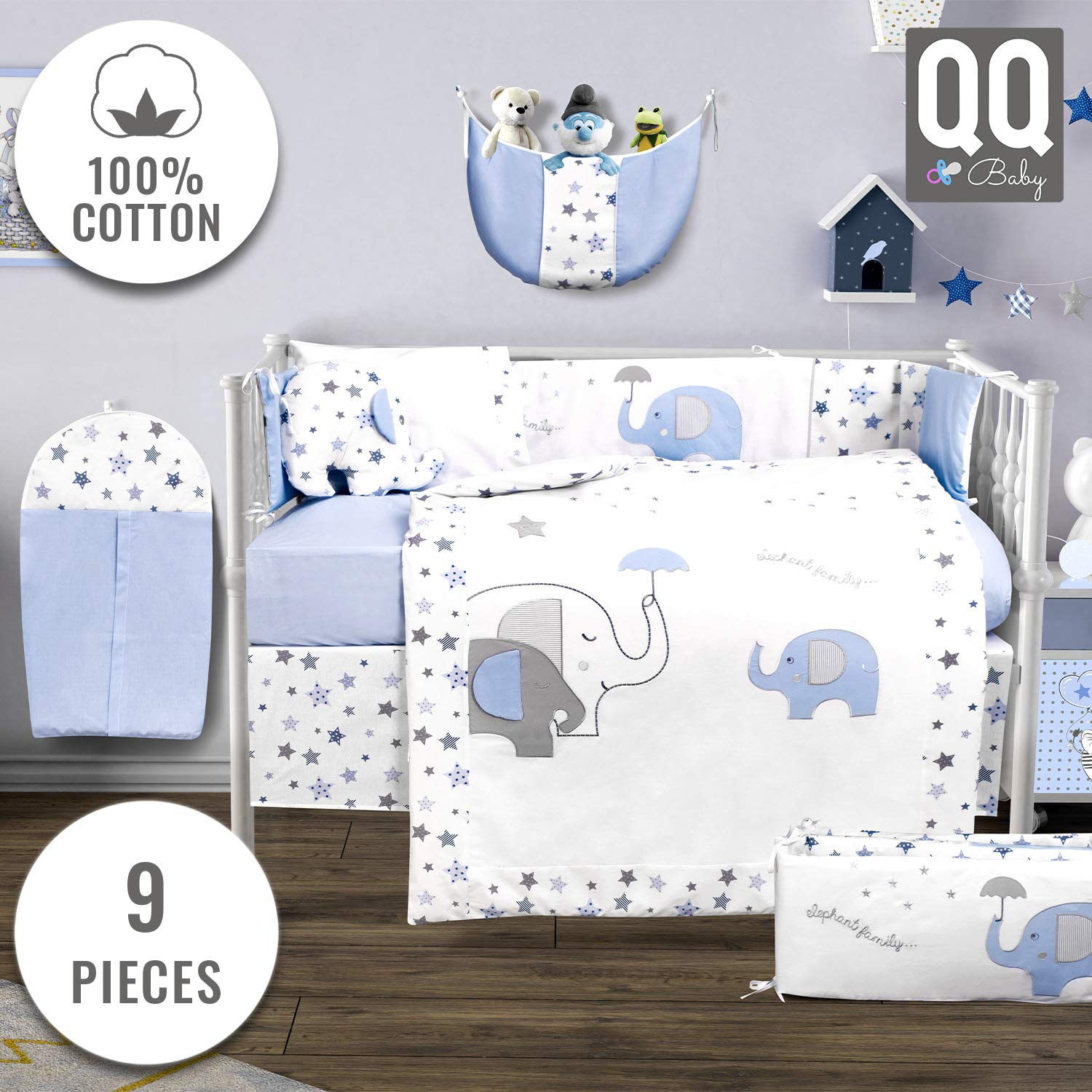 Baby Crib Bedding Set - 100% Turkish Cotton - 9 Piece Nursery Crib Bedding Sets for Boys - Elephant Design - 4 Color Variations by QQ Baby (Blue)
