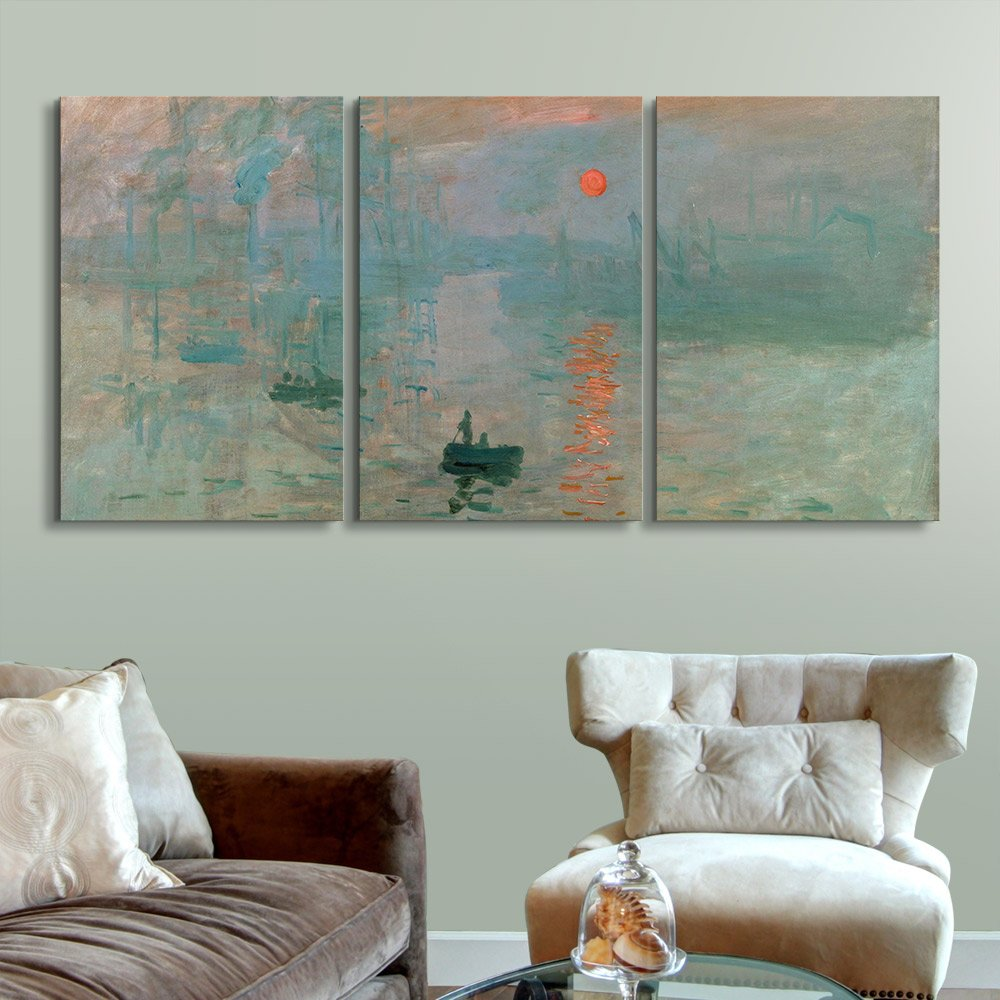 wall26 3 Panel Canvas Wall Art - Impression, Sunrise by Claude Monet - Giclee Print Gallery Wrap Modern Home Decor Ready to Hang - 16''x24'' x 3 Panels by wall26