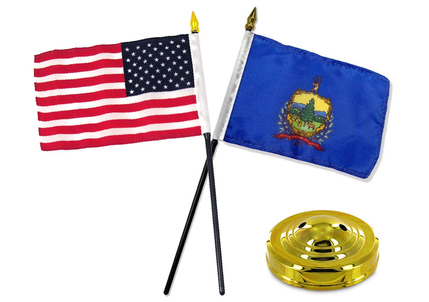 "Vermont State Flag 4/""x6/"" Desk Set Table Stick Black Base"