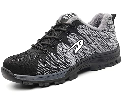 new design classic los angeles Mens Womens Safety Trainers Shoes Steel Toe Cap Work Shoes Winter Fur Lined  Lightweight Hiker Midsole Protection (Black Gray, Size 9)