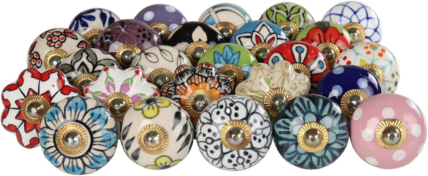 Multicolor Decorative Floral Cabinet Knobs - Pack of 25 Pcs - Brass Steel Door Handle Blue Pottery Flower Handmade Home Decor Hardware