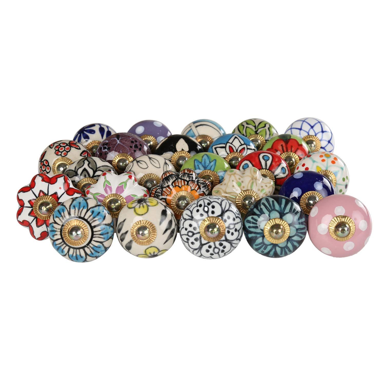 Multicolor Decorative Floral Cabinet Knobs - Pack of 25 Pcs - Brass Steel Door Handle Blue Pottery Flower Handmade Home Decor Hardware