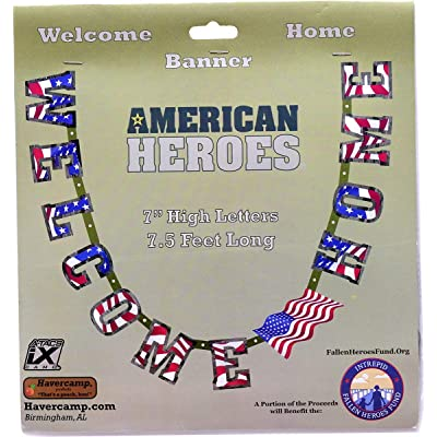"Havercamp US Army Military Welcome Home Banner with American Flag – Welcome Home Banner Military with Large 7"" Cardboard Letters, 7.5 Feet Long – Welcome Home Parties & Military Party Supplies: Toys & Games [5Bkhe0200669]"