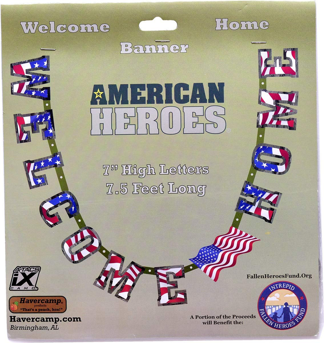 "Havercamp US Army Military Welcome Home Banner with American Flag – Welcome Home Banner Military with Large 7"" Cardboard Letters, 7.5 Feet Long – Welcome Home Parties & Military Party Supplies"
