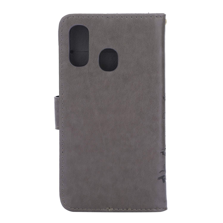 Vepbk /Étui de protection en cuir pour Samsung Galaxy A40 gris