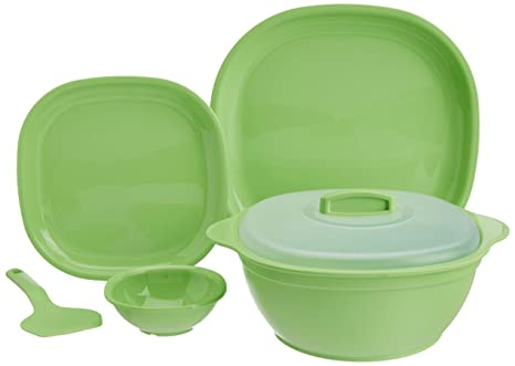 Signoraware Square Dinner Set, 21-Pieces, Parrot Green Dinnerware Sets at amazon