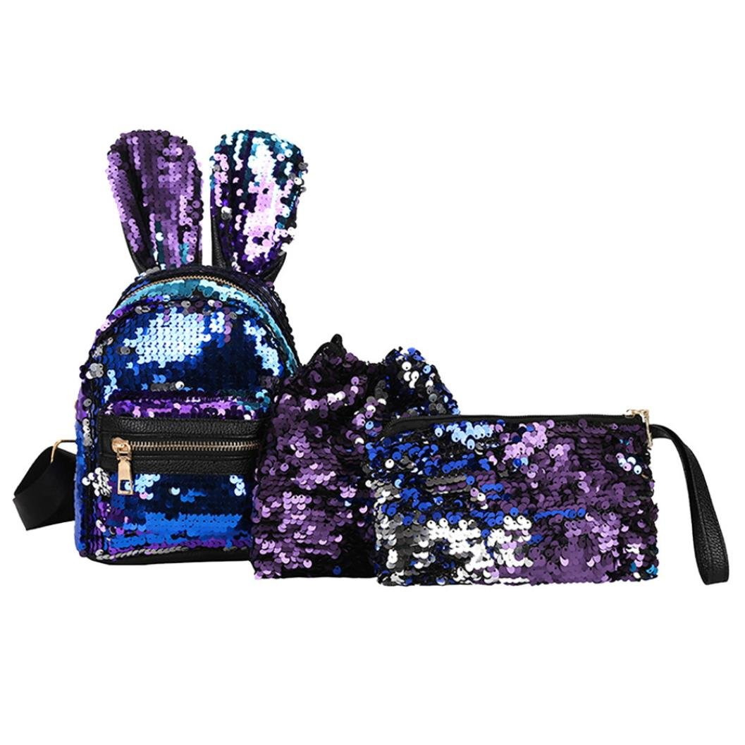 Rumas Rabbit Ears Sequins Backpack Set for Women Girld Kids - Drawstring Bag & Messenger Bag Included - Chic Backpack for Shopping Travel School Outdoor Activities (Blue)