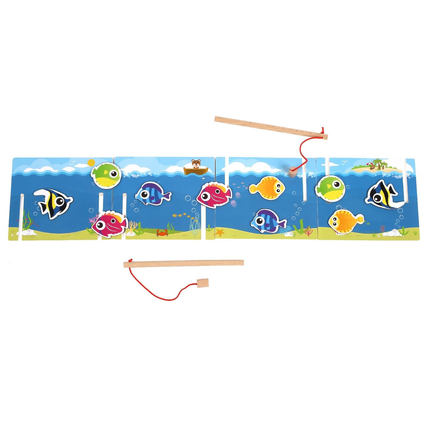 Wooden Fishing Game Toys Set for Toddlers Wooden Magnetic Puzzle Board with Kids Play Magnetic Fishing Rods Pole Activity Game Kits Mesh Storage Bag & Gift Bag by Peradix