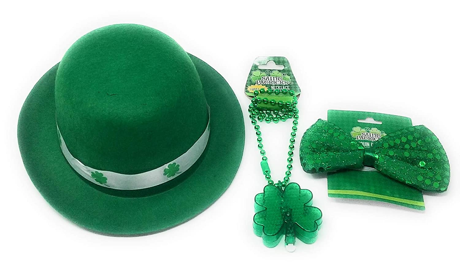 Light-Up Necklace and TLC The Luck of The Irish St Patricks Day Felt Derby Hat Green Sequin Bow-Tie Bonus Coins