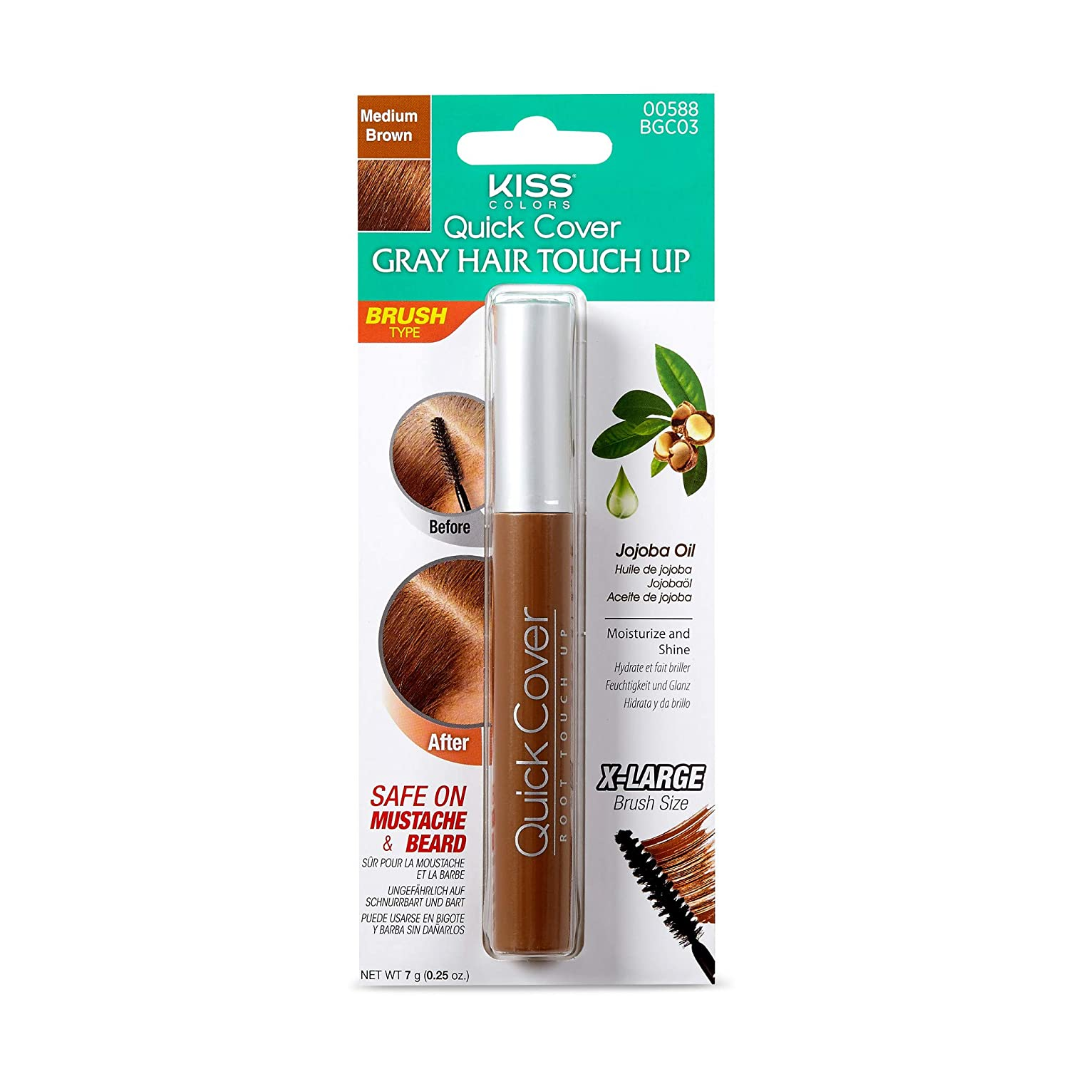 Kiss Quick Cover Brush-in Color Touch up Medium Brown BGC03 : Hair Coloring Brushes And Combs : Beauty