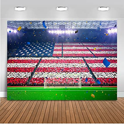 24bf7eeabdc39 Mehofoto Football Field Backdrop American Flag Sport Stadium Background  7x5ft Vinyl Sport Themed Party Decoration Personalized