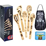 Luxxis Star Wars Gifts Cooking Utensils 7PC Set - 5X Organic Bamboo Spoons, 1X Kitchen Star Wars Apron and 1X Dishwasher Magn