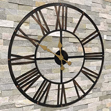 Metal Vintage Fan Wall Clock Rustic Retro Industrial Distressed Home Decor
