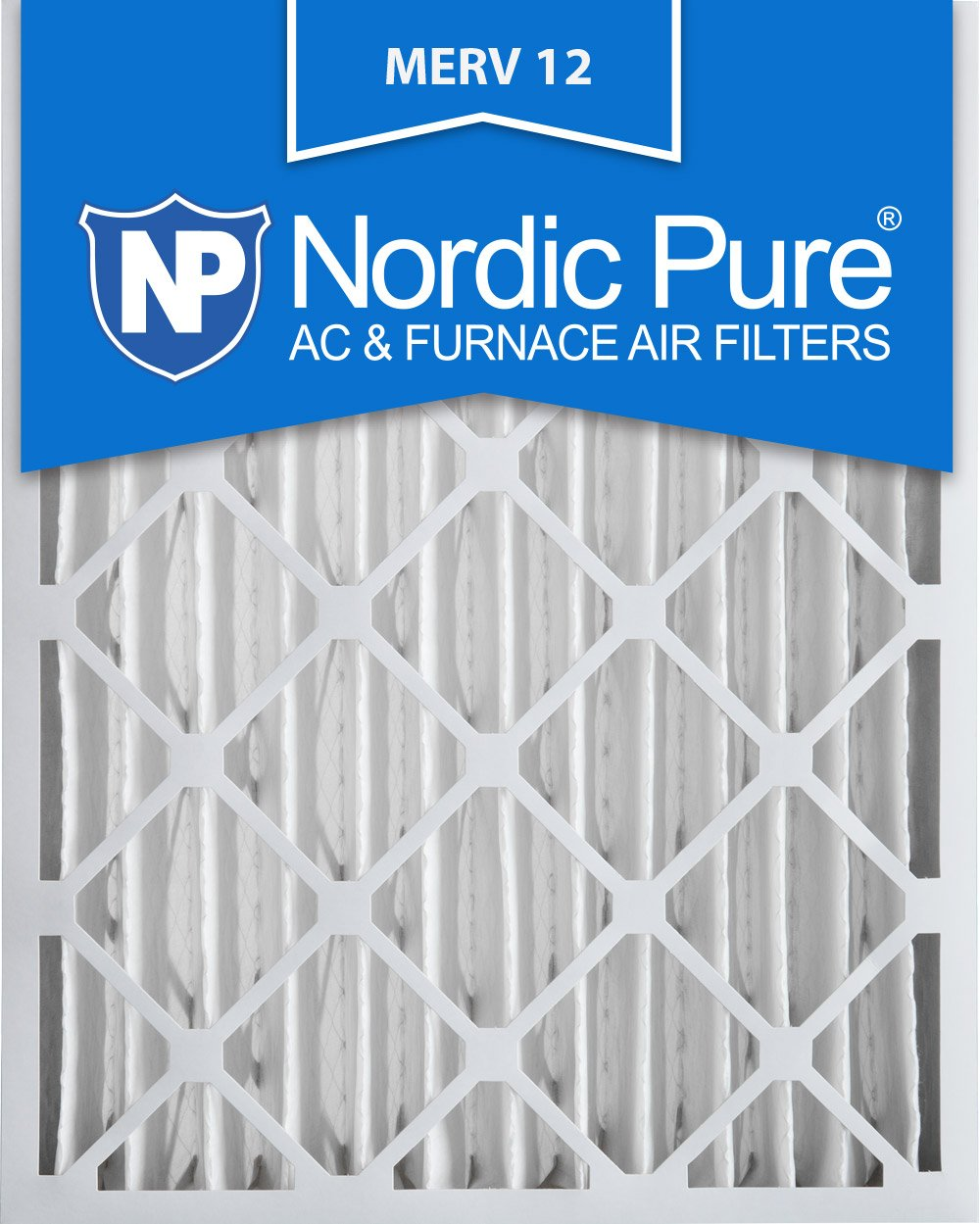 Nordic Pure 20x25x4 (3-5/8 Actual Depth) MERV 12 Pleated AC Furnace Air Filter, Box of 1