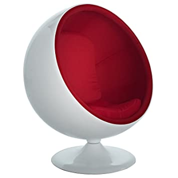 Amazon.com: Modway Eero Aarnio Style Ball Chair in Red: Kitchen & Dining