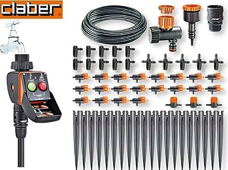 Irrigazione A Goccia Kit Da 20 Vasi Drop Thimer Mod Pratico A Batteria Claber Art 90763