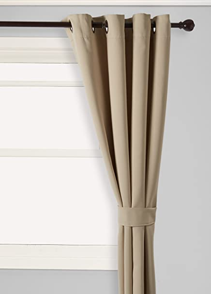 Best Home Fashion Thermal Insulated Blackout Curtains   Antique Bronze  Grommet Top   Beige   52u0026quot