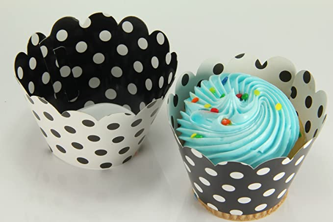 Blue /& White Polkadot Pleated Cupcake Cases Muffin Cases Baking Cups