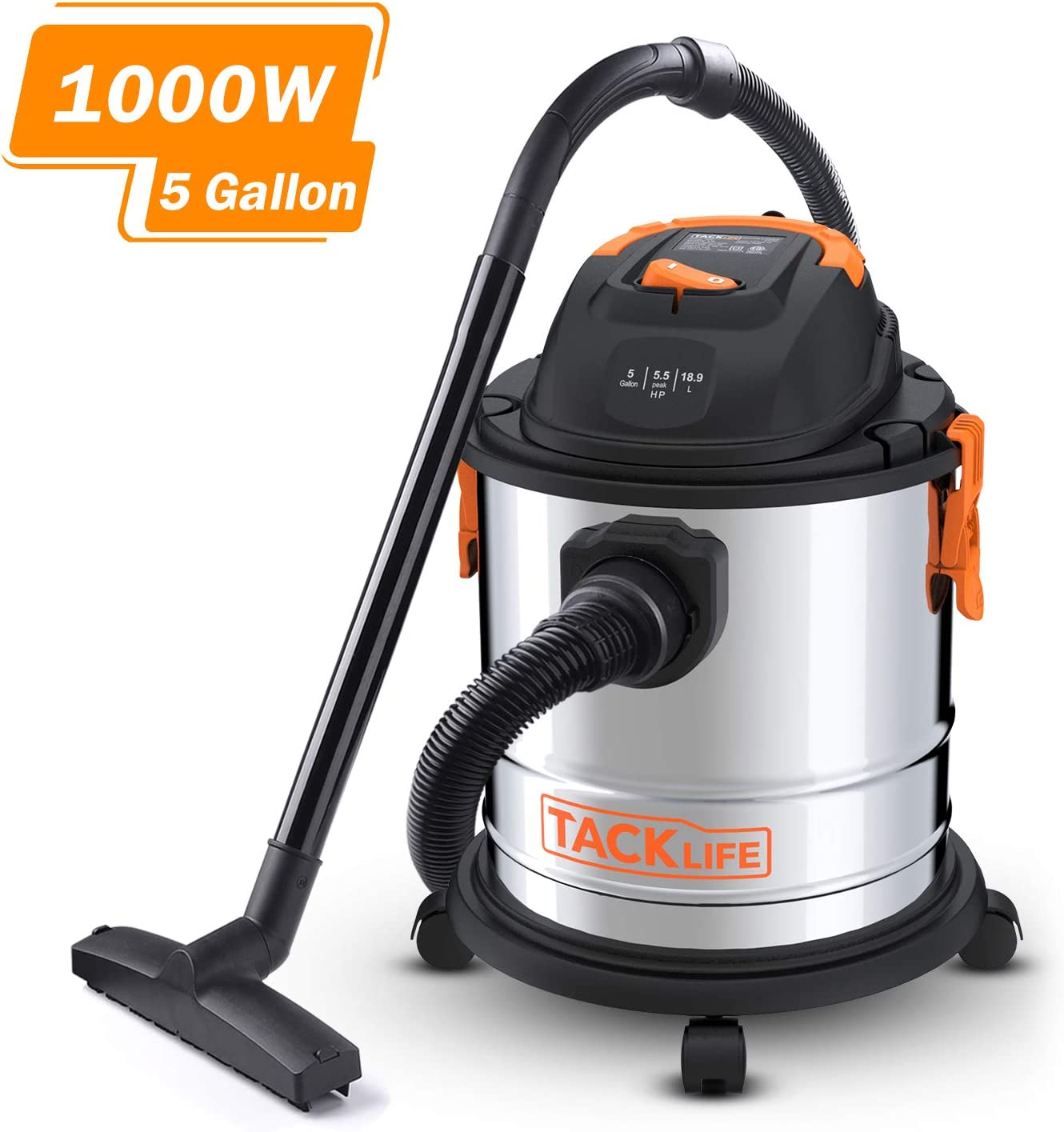 Stainless Steel Shop Vac, TACKLIFE 5.5 Peak HP, 5 Gallon, 1000W Wet Dry Vacuum, Cover 320 Square Feet Clean Range, 4-Layer Filtration System, Dry Wet Blow 3 in 1 for Cleaning Needs-PVC02A