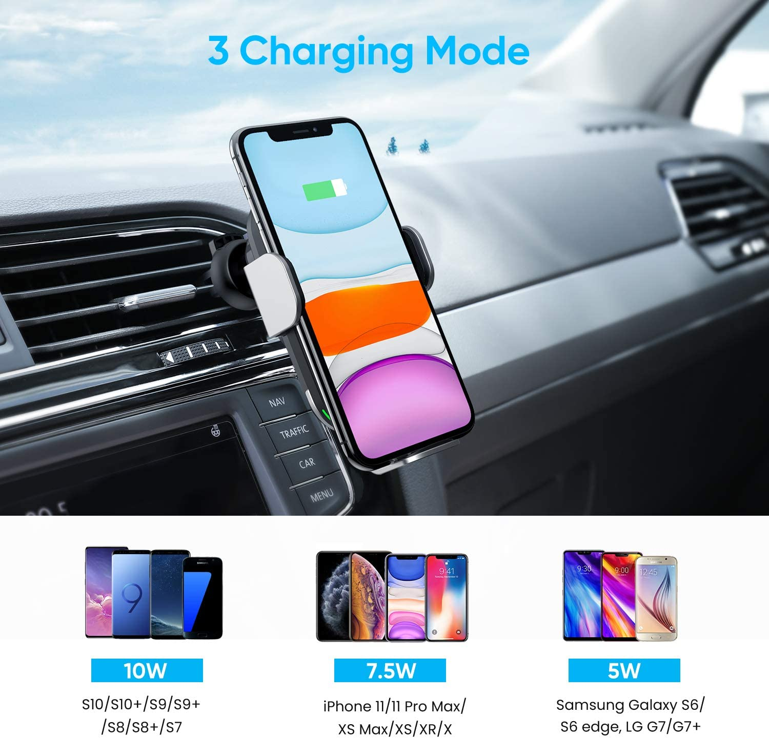 KAPPLUS Wireless Car Charger Mount,10W Qi Fast Charging Auto-Clamping Car Holder,Windshield Dash Air Vent Phone Stand for iPhone 11//11 Pro Max//Xs Max//Xs//X//XR//8+,Samsung S10//S10//S10+//S9//S9+//S8+