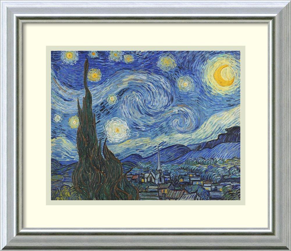 アートフレーム印刷' The Starry Night , June 1889 ( II ) ' by Vincent Van Gogh Size: 18 x 15 (Approx), Matted ブルー 3848453 Size: 18 x 15 (Approx), Matted Warm Silver Swoop,mat:white B01LAGY7P6
