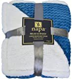 "Napa Super Soft Sherpa Throw Blanket Sea Blue Chevron 50"" x 60"" Reversible Fuzzy Micro Plush All Season Fleece TV Blanket for Bed or Couch"