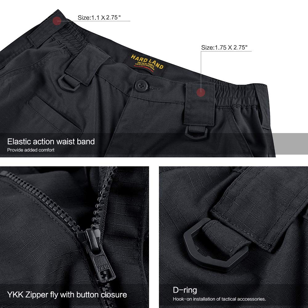HARD LAND Men's Tactical Pants Waterproof Ripstop Cargo Work Pants with Elastic Waist for Hiking Hunting Fishing Size44W×32L Charcoal Grey by HARD LAND (Image #4)
