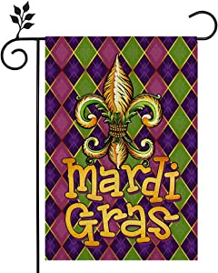 CROWNED BEAUTY Mardi Gras Garden Flag 12×18 Inch Small Fleur de Lis New Orleans Vertical Double Sided Flag for Outside Yard Carnival Party Farmhouse Décor CF040-12