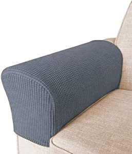 High Stretch Armrest Covers for Chairs and Sofas Spandex Jacquard Fabric Small Checks Armchair Covers for Arms Couch Arm Covers Armrest Covers for Sofa/Recliner Non Slip, Set of 2, Grey