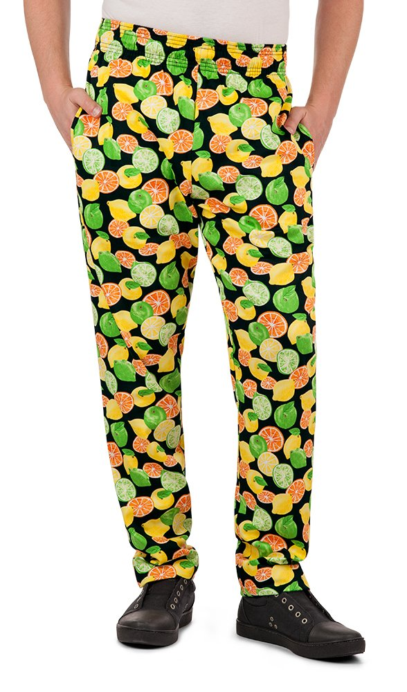 Men's Citrus Print Chef Pant (XS-3X) (Large) by ChefUniforms.com