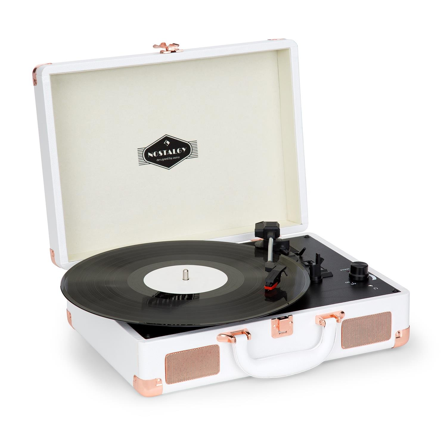 auna Peggy Sue  Record Player  Retro Design  Turntable  Phonograph  Belt-Drive  Stereo Speaker  USB-Port  Vinyl LP  Carrying Strap  Digitization  Plug & Play  Portable Suitcase  White