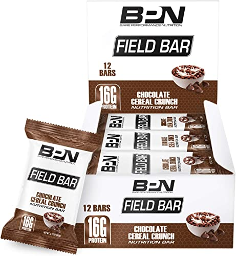 Bare Performance Nutrition, Field Bar, High Protein Bar, Nutrition Bar, Made with Whole Ingredients, Naturally Sweetened, Peanut Butter, Contains Chocolate Cereal 12 Bars, Chocolate Cereal Crunch