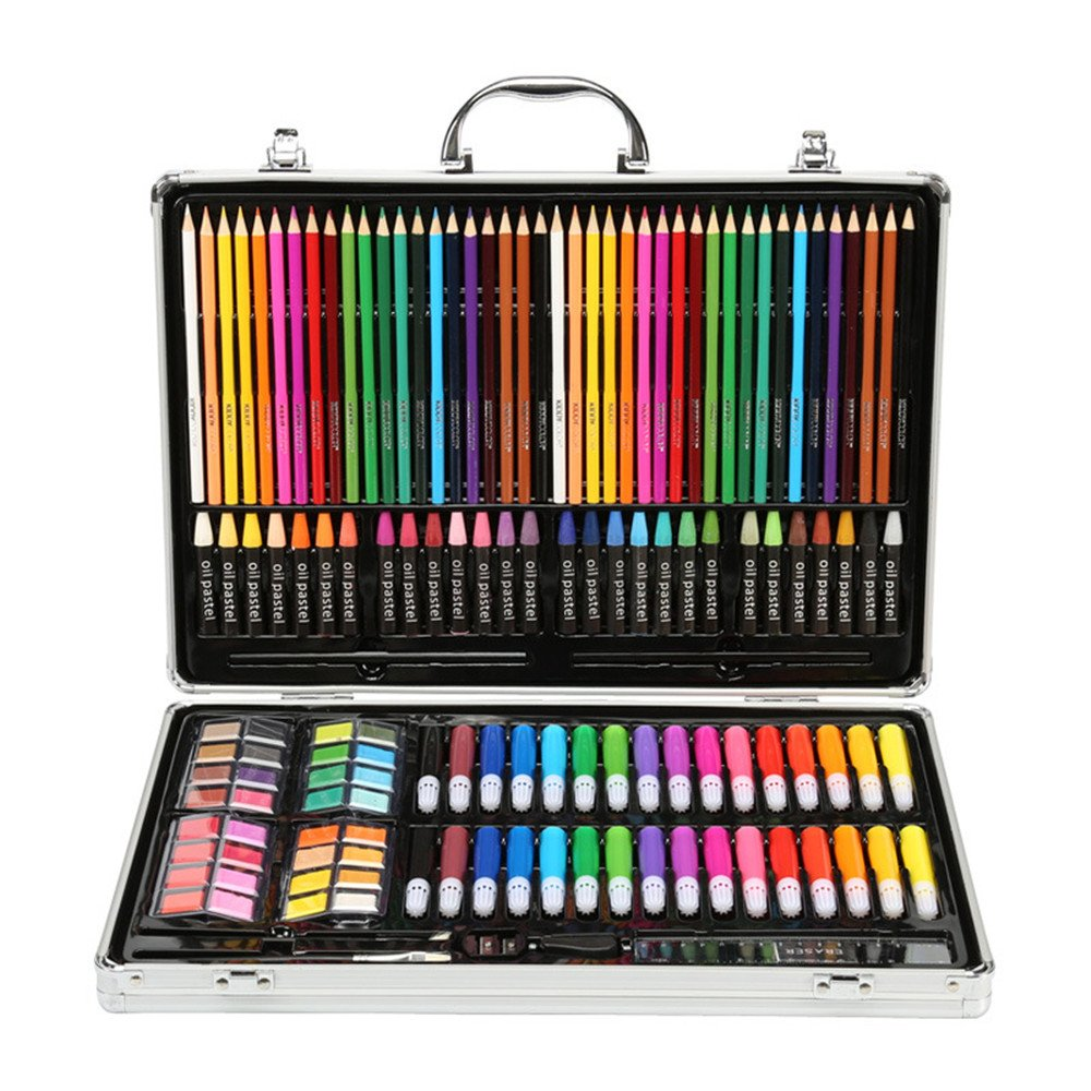 Artist art drawing set, Art Supply Luxury Artist Studio Creative Set 143 Pieces Of Alloy Portable Art Including Watercolor, Crayons, Colored Markers, Colored Pencils, Etc. Gifts for children and child
