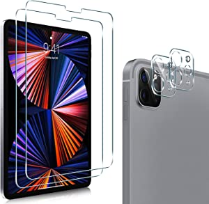 [2+2 Packs] PULEN for iPad Pro 12.9 2021 & 2020 Screen Protector with Camera Lens Protector,HD Clear No Bubble Anti-Scratch 9H Hardness Tempered Glass Compatible with Apple Pencil and Face ID (12.9 Inch)